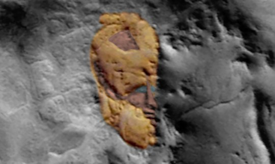 Conspiracy theorists find an 'ancient face' on the surface of Mars https://www.ufosightingsdaily.com/2019/01/ancient-face-found-on-mars-using-google.html