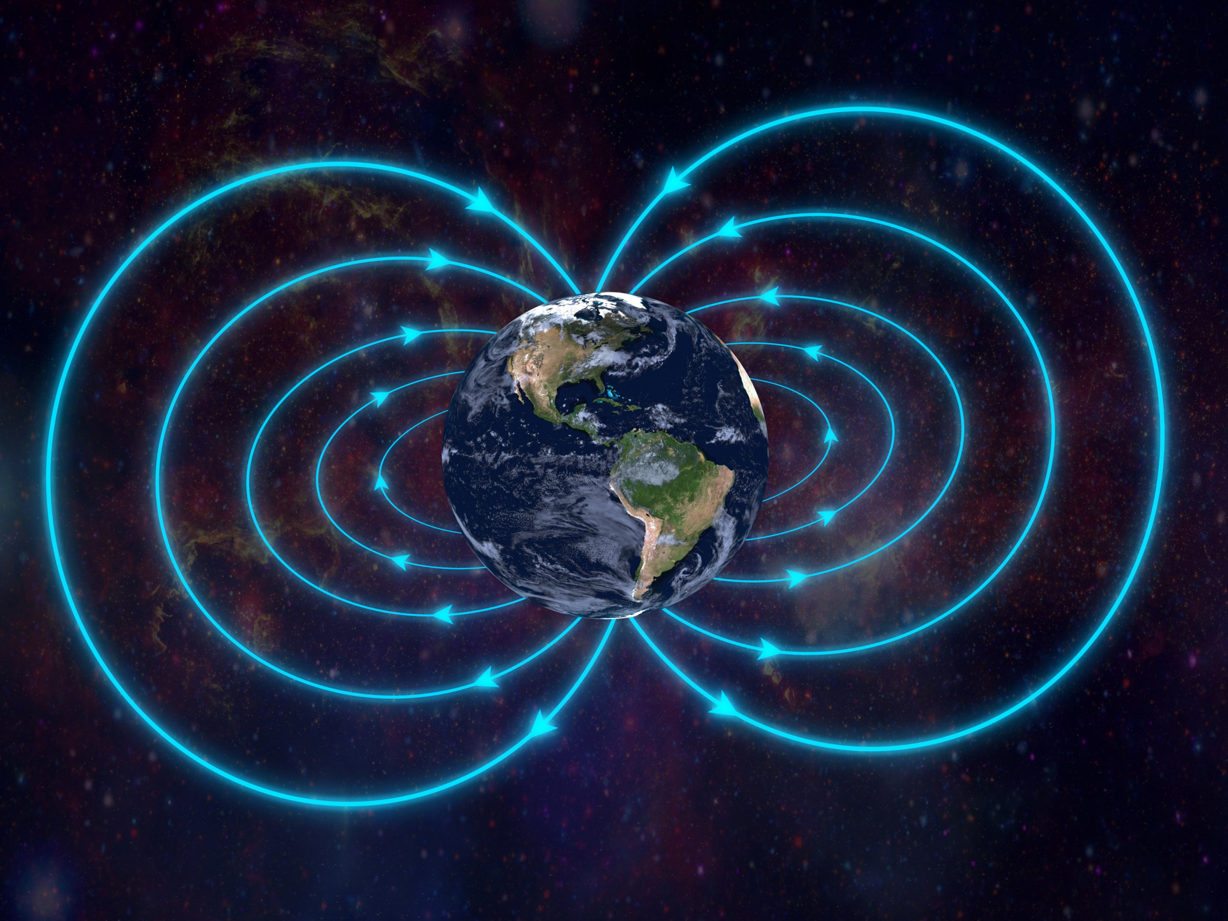 Magnetic field of Earth. Real textures for Earth get from http://www.nasa.gov/