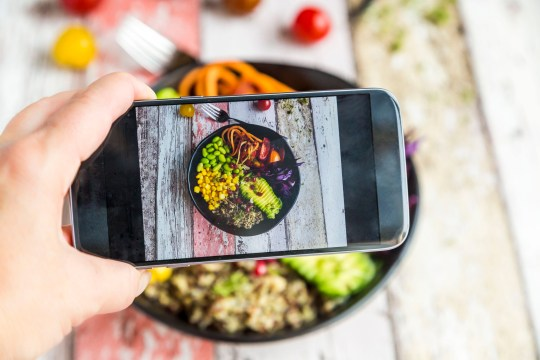veggie bowl. quinoa, edamame, avocado, carrots, tomatoes, red cabbage, corn, bowl, studio, indoor, overhead view, vegetarian, eat healthy, colorful, scissor, cress, pomegranate, smartphone