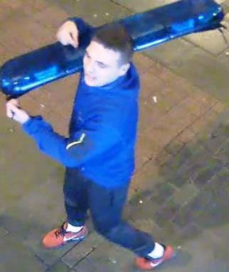 Handout photo dated 26/12/18 issued by the British Transport Police of a man they wish to speak to about the theft of a blue light from a police car at Sunderland railway station at 4.30am on Boxing Day, 2018. PRESS ASSOCIATION Photo. Issue date: Friday January 11, 2019. See PA story POLICE Lights. Photo credit should read: British Transport Police/PA Wire NOTE TO EDITORS: This handout photo may only be used in for editorial reporting purposes for the contemporaneous illustration of events, things or the people in the image or facts mentioned in the caption. Reuse of the picture may require further permission from the copyright holder.