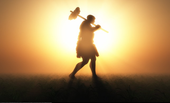 'Breakthrough' research shows just how much sex homo sapiens were having with Neanderthals Primitive man silhouette against the sun.; Shutterstock ID 313855367; Purchase Order: -