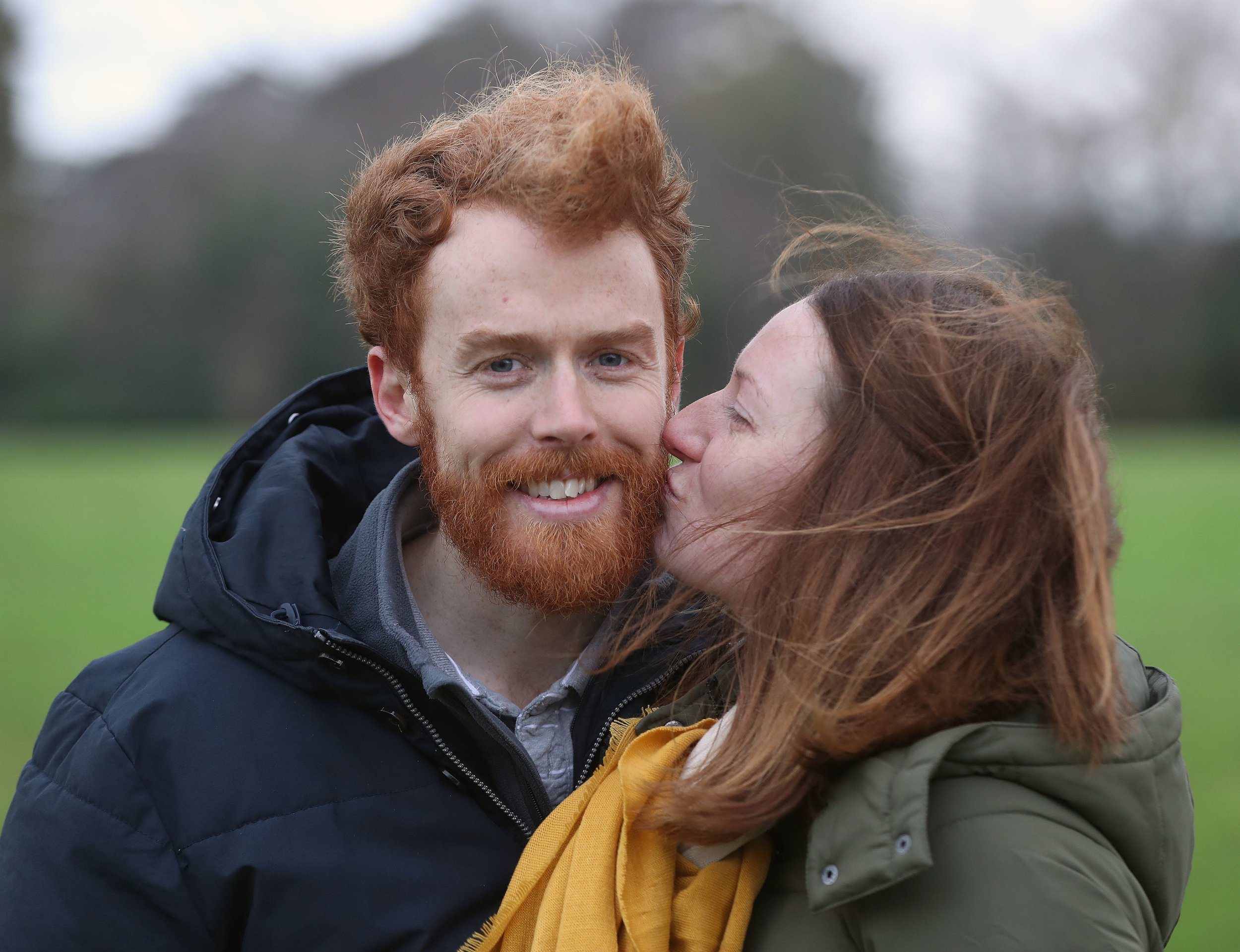 Chris and Niamh Behan from Dublin take part in the annual Kiss a Ginger day at Phoenix park in Dublin. PRESS ASSOCIATION Photo. Picture date: Saturday January 12, 2019. Photo credit should read: Niall Carson/PA Wire
