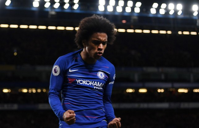 LONDON, ENGLAND - JANUARY 12: Willian of Chelsea celebrates after scoring his team's second goal during the Premier League match between Chelsea FC and Newcastle United at Stamford Bridge on January 12, 2019 in London, United Kingdom. (Photo by Darren Walsh/Chelsea FC via Getty Images)