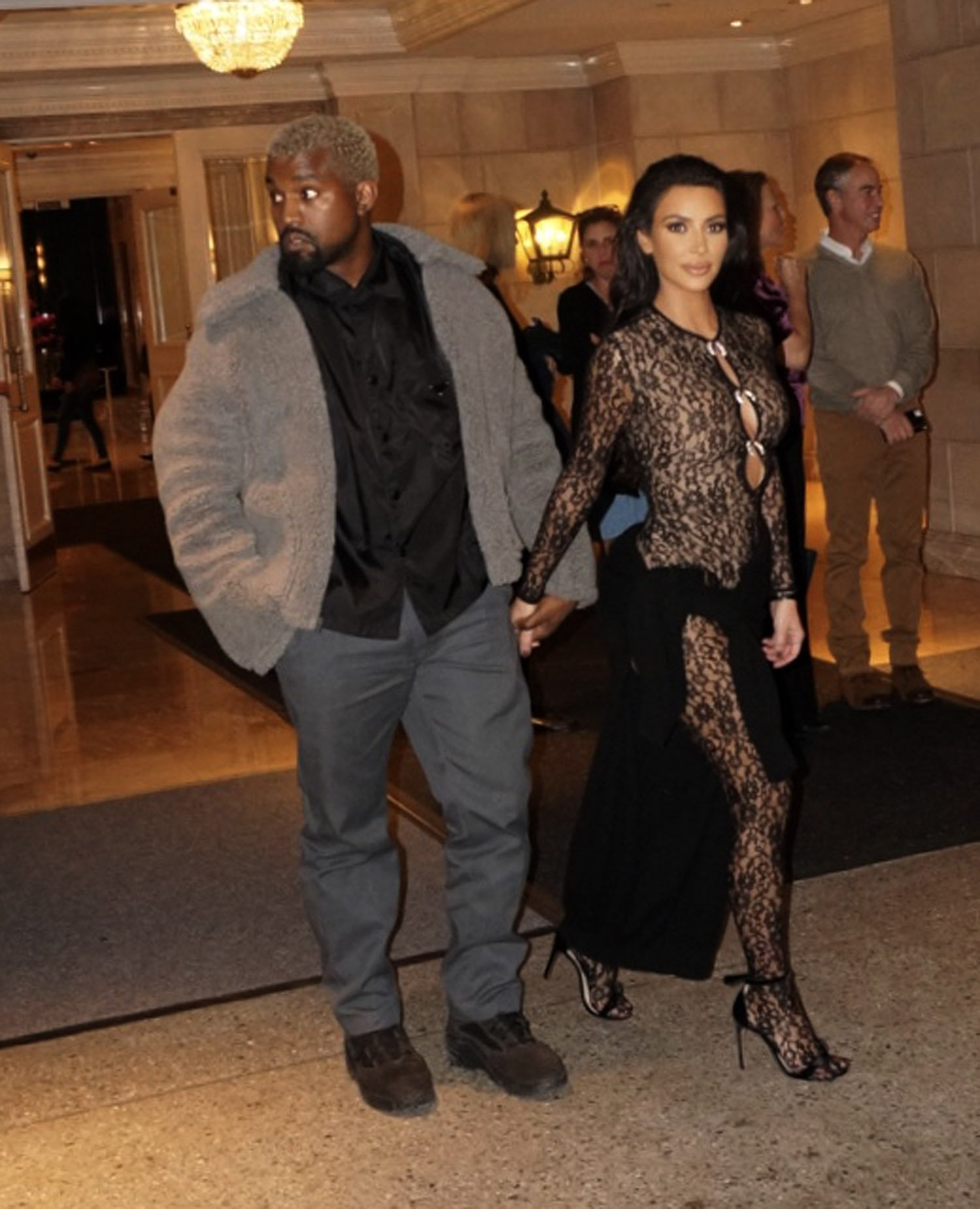 EXCLUSIVE: * Min Web / Online Fee 250 GBP For Set * * Min Print Fee 250 GBP PP * Double For Pg1 * Kim Kardashian looks stunning as she wears a sheer form fitting bodysuit as she has all eyes on her as she is joined by husband Kanye West while leaving their hotel in San Francisco. The couple had a fancy date night out together and were close to each other as she smiled while the hotel guests looked on. The couple was seen later in the evening at John Legend???s 40th birthday, suggesting they flew back into town just for the festivities. Pictured: Kanye West,Kim Kardashian Ref: SPL5054965 130119 EXCLUSIVE Picture by: SplashNews.com * Min Web / Online Fee 250 GBP For Set * * Min Print Fee 250 GBP PP * Double For Pg1 * Splash News and Pictures Los Angeles: 310-821-2666 New York: 212-619-2666 London: 0207 644 7656 Milan: 02 4399 8577 photodesk@splashnews.com World Rights