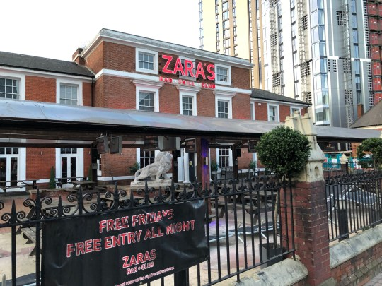 Pictured, General View of Zara's Bar and Grill on Broad Street Birimingham at the juction of Sheepcote Street where at 1220am Saturday 13th January 2019 West Midlands Police recieved reports that two petrol bombs had been throw from a car and landing on the pavement outside the bar. Picture taken 13/1/19