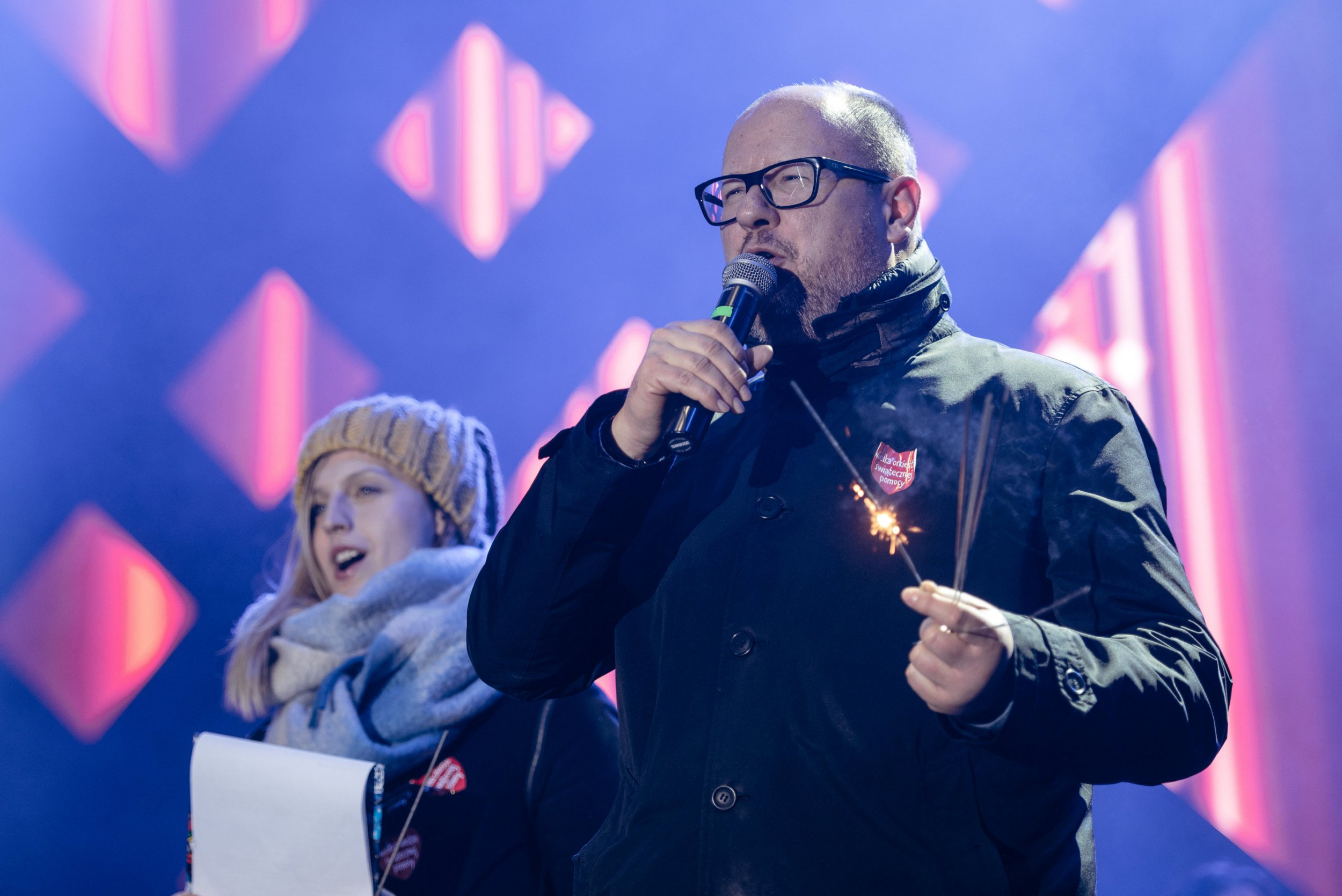 Gdansk's Mayor Pawel Adamowicz speaks during the 27th Grand Finale of the Great Orchestra of Christmas Charity in Gdansk, Poland January 13, 2019. Agencja Gazeta/Bartosz Banka via REUTERS ATTENTION EDITORS - THIS IMAGE WAS PROVIDED BY A THIRD PARTY. POLAND OUT. NO COMMERCIAL OR EDITORIAL SALES IN POLAND.