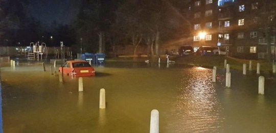 Panic in south London as burst water pipe floods street