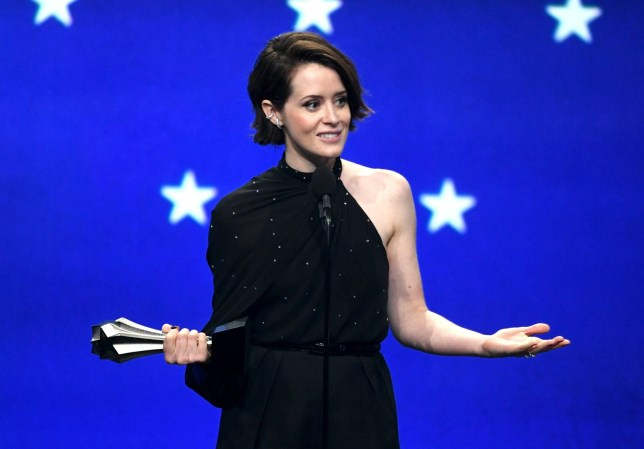 SANTA MONICA, CA - JANUARY 13: Claire Foy accepts the #SeeHer Award onstage during the 24th annual Critics' Choice Awards at Barker Hangar on January 13, 2019 in Santa Monica, California. (Photo by Kevin Winter/Getty Images for The Critics' Choice Awards)