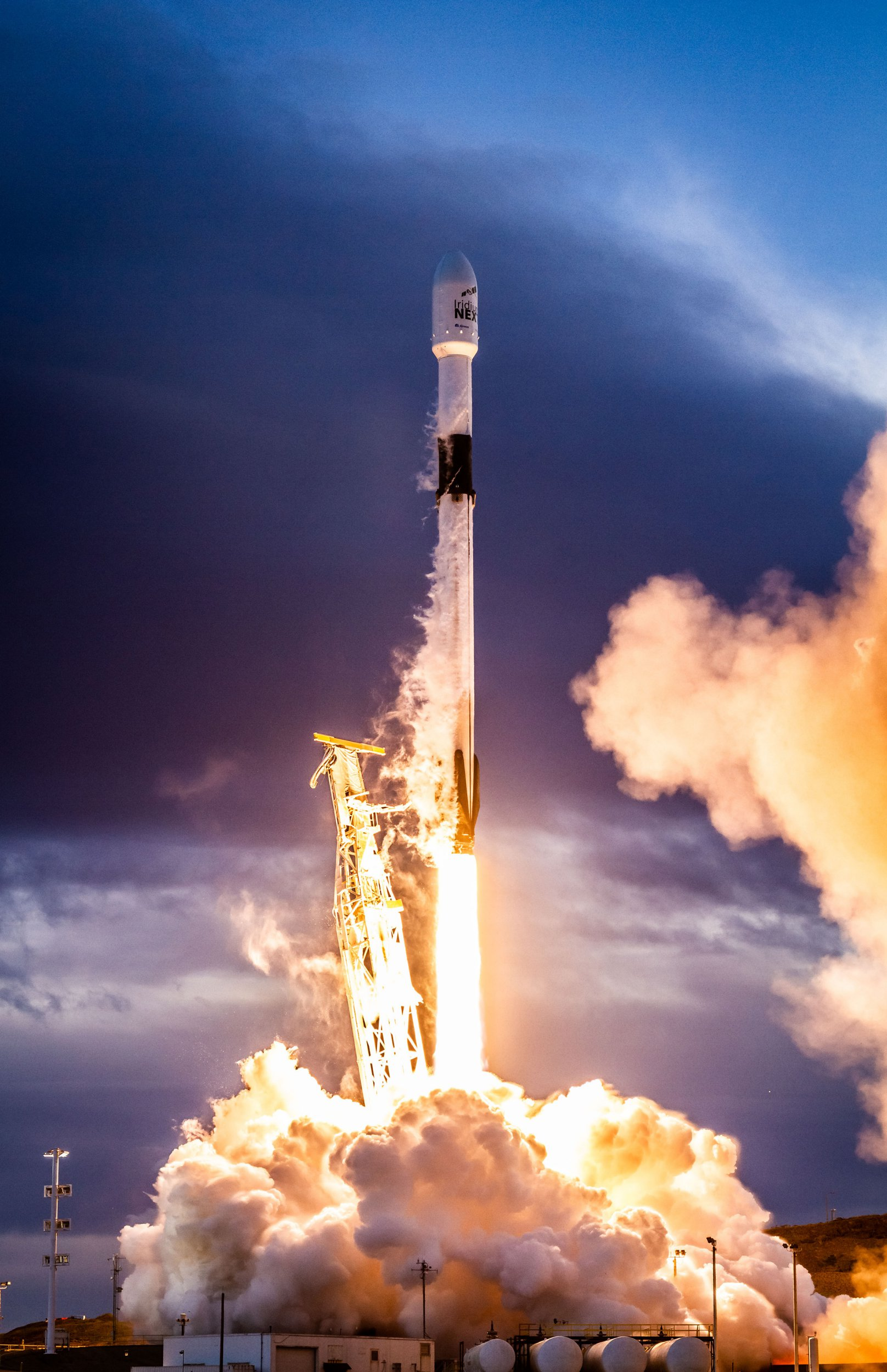 """SpaceX successfully launched the eighth and final set of satellites for Iridium?s next-generation global satellite constellation, Iridium NEXT, on January 11, 2019, from Vandenberg Air Force Base in California. Falcon 9's first stage delivered the second stage to its targeted orbit followed by deployment of all 10 Iridium NEXT satellites. Following stage separation, the first stage of Falcon 9 successfully landed on SpaceX's """"Just Read the Instructions"""" drone-ship stationed in the Pacific Ocean. Falcon 9's first stage for the Iridium-8 mission previously supported the Telstar 18 VANTAGE mission in September 2018. Photo by SpaceX/UPIPHOTOGRAPH BY UPI / Barcroft Images"""