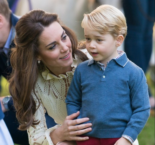VICTORIA, BC - SEPTEMBER 29: (NO UK SALES FOR 28 DAYS) Catherine, Duchess of Cambridge and Prince George of Cambridge attend a children's party for Military families during the Royal Tour of Canada on September 29, 2016 in Victoria, Canada. (Photo by Pool/Sam Hussein/WireImage)