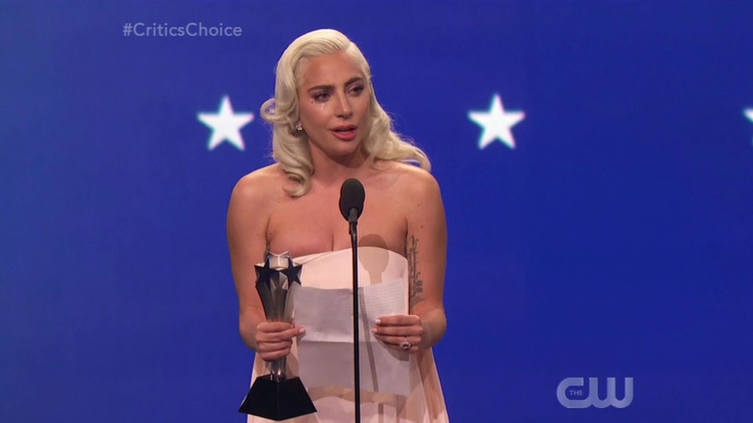 "BGUK_1456220 - ** RIGHTS: WORLDWIDE EXCEPT IN UNITED STATES ** Los Angeles, CA - Lady Gaga sobs through acceptance speech after tying with Glenn Close for Best Actress at the Critics' Choice Awards. The pop icon was overcome with emotion as she took to the stage to accept her second Critics' Choice Award of the night. The singer and actress tied with Glenn Close to take home the Best Actress award for A Star Is Born. Close, who won the award for her role in The Wife, made her speech and stayed on stage while Gaga's name was read as the joint winner. Gaga, who lost out in the category at the Golden Globes earlier this month, burst into tears as soon as her name was announced and gave a tearful speech dedicating her award 'to all people who have suffered from alcoholism or addiction'. ""My mother and Glenn are good friends ??? I???m so very happy you won this evening,"" Gaga began. ""I am so honored by this. I went to places in my mind and my heart that I did not know existed."" Gaga thanked her fiance Christian Carino who was in the audience, before paying tribute to her co-star and director Bradley Cooper, saying: ""Thank you Christian, my love. Bradley, you are a magical film maker. And you are just as magical of a human being. I have never had an experience with a director or an actor like I had with you. You seamlessly were both the love of my life and the man behind the camera."" As the music started playing to tell her she'd gone beyond her allotted time, Gaga quipped: ""It???s okay I can still do this with a piano background,"" as the audience clapped and cheered. In her speech, Close, 71, said: ""I am so thrilled a tie! The world pits us against each other in this profession. And I know, from the other women in this category, we celebrate each other and we are proud to be in this room together."" *BACKGRID DOES NOT CLAIM ANY COPYRIGHT OR LICENSE IN THE ATTACHED MATERIAL. ANY DOWNLOADING FEES CHARGED BY BACKGRID ARE FOR BACKGRID'S SERVICES ONLY, AND DO NOT, NOR ARE THEY INTENDED TO, CONVEY TO THE USER ANY COPYRIGHT OR LICENSE IN THE MAT Pictured: Lady Gaga BACKGRID UK 13 JANUARY 2019 BYLINE MUST READ: The CW / BACKGRID *BACKGRID DOES NOT CLAIM ANY COPYRIGHT OR LICENSE IN THE ATTACHED MATERIAL. ANY DOWNLOADING FEES CHARGED BY BACKGRID ARE FOR BACKGRID'S SERVICES ONLY, AND DO NOT, NOR ARE THEY INTENDED TO, CONVEY TO THE USER ANY COPYRIGHT OR LICENSE IN THE MATERIAL. BY PUBLISHING THIS MATERIAL , THE USER EXPRESSLY AGREES TO INDEMNIFY AND TO HOLD BACKGRID HARMLESS FROM ANY CLAIMS, DEMANDS, OR CAUSES OF ACTION ARISING OUT OF OR CONNECTED IN ANY WAY WITH USER'S PUBLICATION OF THE MATERIAL* UK: +44 208 344 2007 / uksales@backgrid.com USA: +1 310 798 9111 / usasales@backgrid.com *UK Clients - Pictures Containing Children Please Pixelate Face Prior To Publication*"