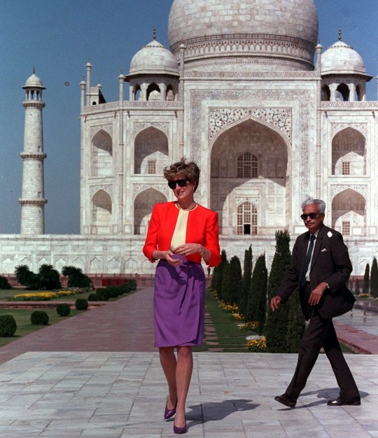 The Princess of Wales is shown around by a guide during her visit to the Taj Mahal at Agra.