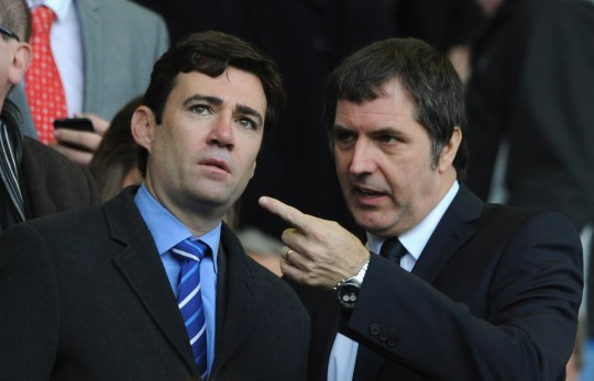 LIVERPOOL, ENGLAND - OCTOBER 28: MPs Andy Burnham (L) and Steve Rotherham look on prior to the Barclays Premier League match between Everton and Liverpool at Goodison Park on October 28, 2012 in Liverpool, England. (Photo by Chris Brunskill/Getty Images)