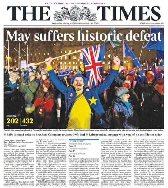 Papers react to Theresa May's historic defeat