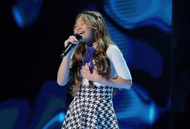 """AMERICA'S GOT TALENT: THE CHAMPIONS -- """"The Champions Three"""" Episode 103 -- Pictured: Angelica Hale -- (Photo by: Trae Patton/NBC/NBCU Photo Bank via Getty Images)"""