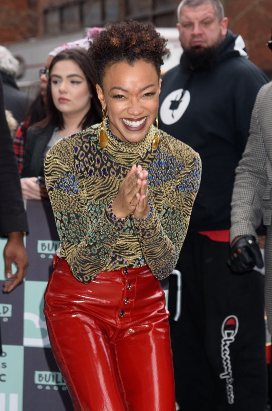 Celebrities on Build Series in NYC Build Studio, NY Pictured: Sonequa Martin-Green Ref: SPL5055858 160119 NON-EXCLUSIVE Picture by: Janet Mayer / SplashNews.com Splash News and Pictures Los Angeles: 310-821-2666 New York: 212-619-2666 London: 0207 644 7656 Milan: 02 4399 8577 photodesk@splashnews.com World Rights,