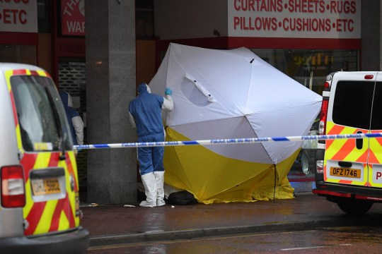 Alan Lewis - PhotopressBelfast.co.uk 18/1/2019 Photograph by Justin Kernoghan Police and forensic experts at the scene on High Street Belfast this morning. It is believed two homeless people have died in the doorway of a shop. Police have the scene sealed off.