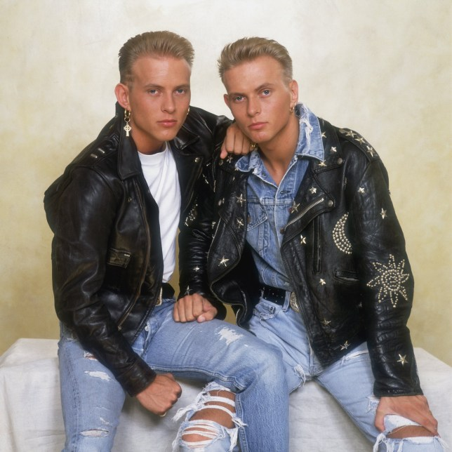 British pop duo Bros, consisting of twin brothers Matt and Luke Goss, circa 1990. (Photo by Dave Hogan/Hulton Archive/Getty Images)