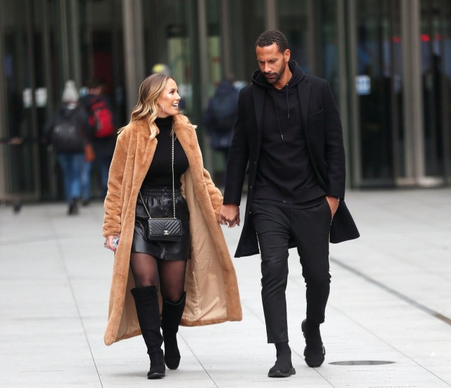 BGUK_1462058 - London, UNITED KINGDOM - *EXCLUSIVE* - WEB MUST CALL FOR PRICING - Newly engaged Rio Ferdinand and Kate Wright look loved up while pictured hand in hand leaving BBC Studios in London. The happy couple were pictured looking relaxed as they wore matching black outfits while leaving the BBC Studios in Central London. Pictured: Rio Ferdinand and Kate Wright BACKGRID UK 21 JANUARY 2019 UK: +44 208 344 2007 / uksales@backgrid.com USA: +1 310 798 9111 / usasales@backgrid.com *UK Clients - Pictures Containing Children Please Pixelate Face Prior To Publication*