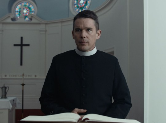 "Editorial use only. No book cover usage. Mandatory Credit: Photo by Killer Films/Kobal/REX/Shutterstock (9696800d) Ethan Hawke ""First Reformed"" Film - 2017"