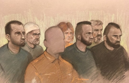 ALL TV OUT Court artist sketch by Elizabeth Cook of (left to right) Norbert Pulko, Saied Hussini, father of three year boy (cannot be identified), Martina Badiova, Adam Cech, Jabar Paktia and Jan Dudi, in the dock at Worcester Crown Court charged for their alleged part in an attack on the child who was squirted with acid. PRESS ASSOCIATION Photo. Picture date: Tuesday January 22, 2019. The youngster, who cannot be identified for legal reasons, suffered serious burns to his face and arm at the Home Bargains store in Worcester on July 21, last year. See PA story COURTS Acid. Photo credit should read: Elizabeth Cook/PA Wire