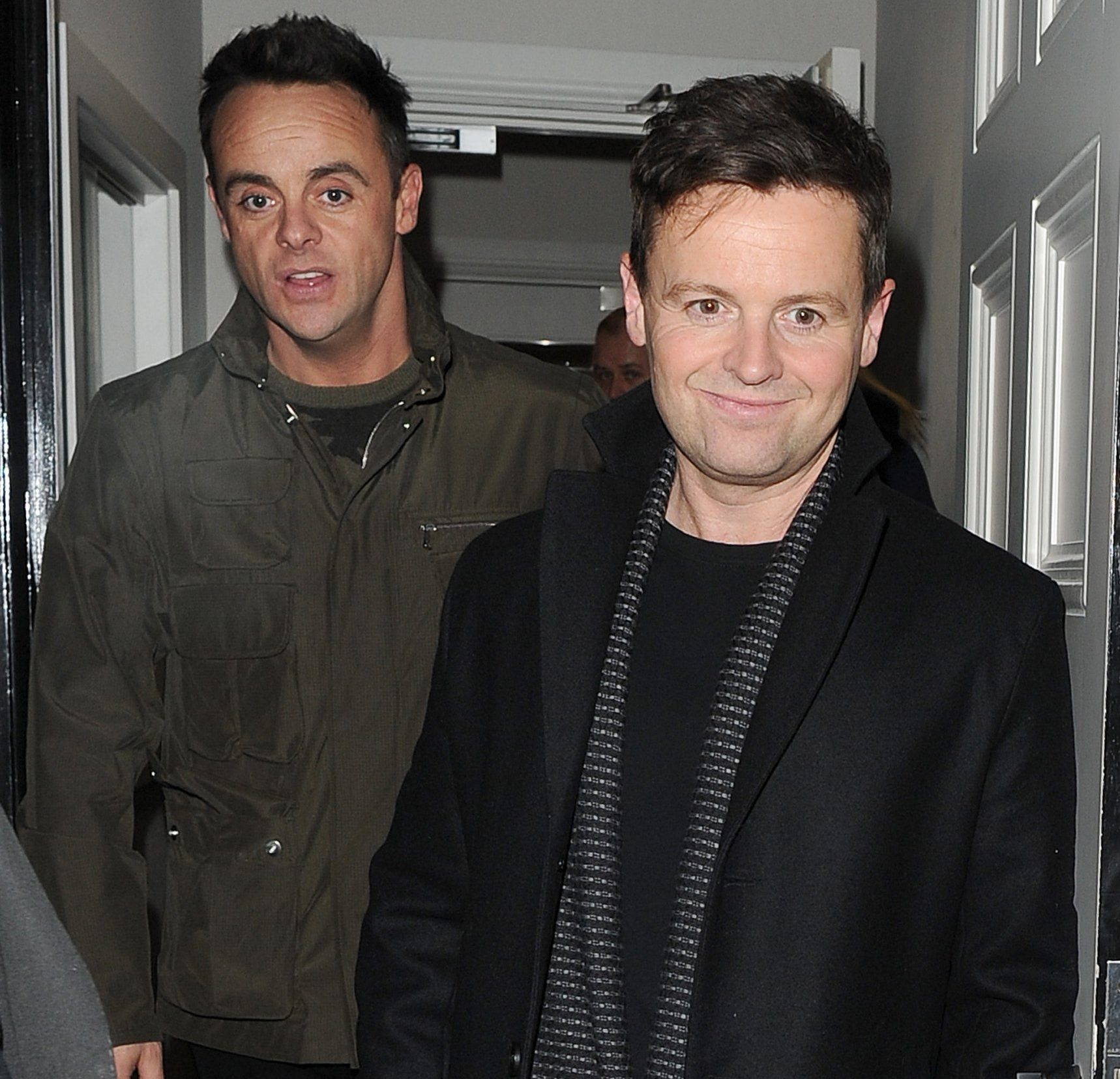 22 January 2019. Celebrities leaving the Britain's Got Talent Auditions, held at the London Palladium. Simon Cowell told photographers he was mortified at hearing the results of the NTA awards. Ant and Dec accidentally walked into a short woman, as they left the venue, with Ant jokingly asking her if she wanted to ride with them! Ants girlfriend Anne-Marie left in a separate car on her own. Pictured: Ant McPartlin, Declan Donnelly Credit: Will/Mark/GoffPhotos.com Ref: KGC-305/453