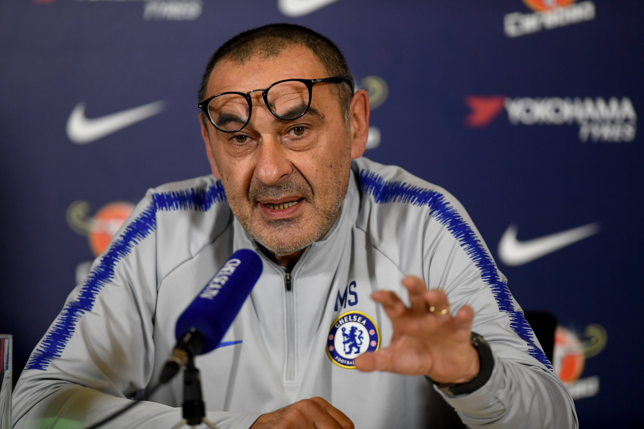 COBHAM, ENGLAND - JANUARY 23: Chelsea manager Maurizio Sarri attends a press conference at Chelsea Training Ground on January 23, 2019 in Cobham, England. (Photo by Darren Walsh/Chelsea FC via Getty Images)