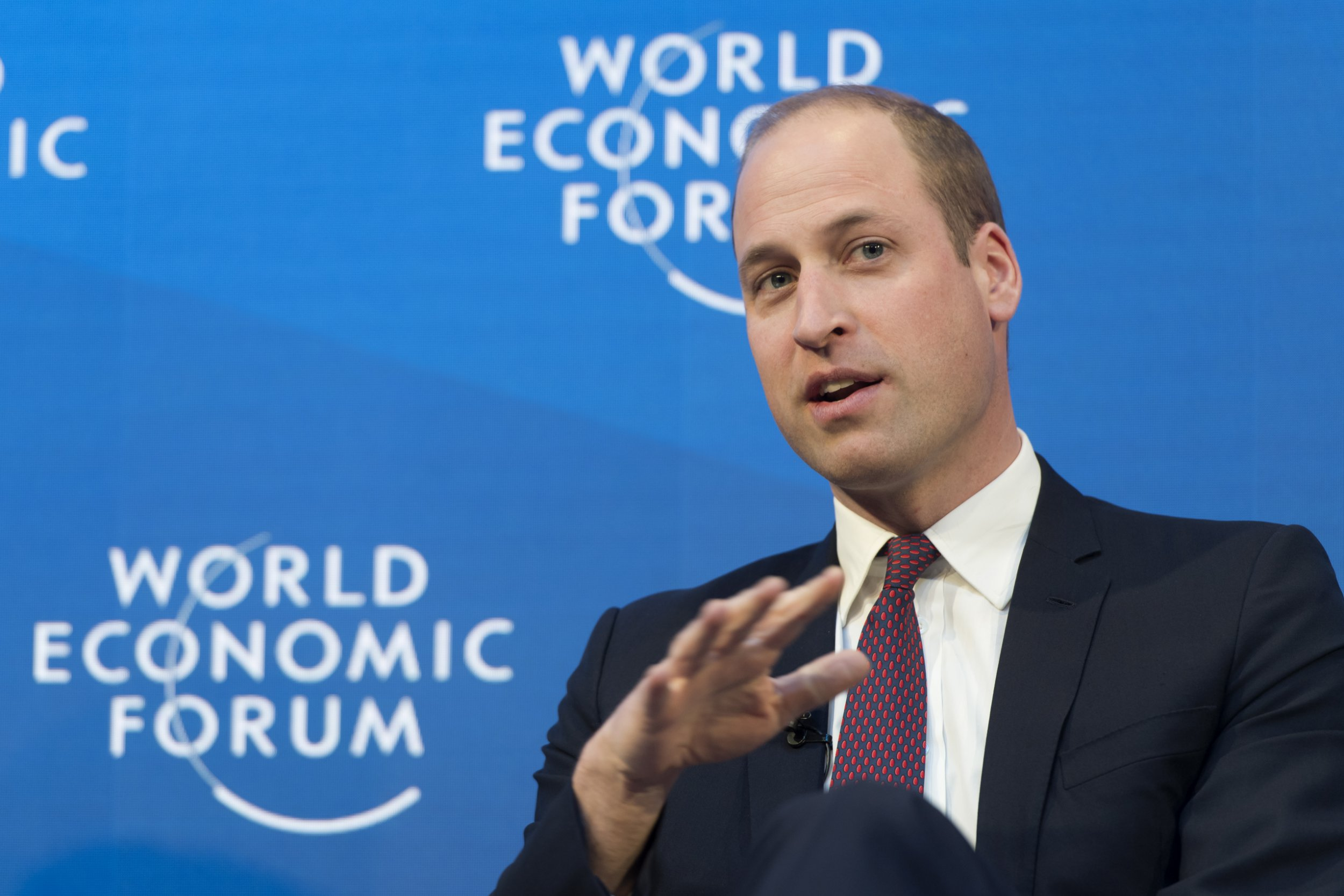 epa07312525 Prince William, The Duke of Cambridge, speaks during a panel session during the 49th Annual Meeting of the World Economic Forum, WEF, in Davos, Switzerland, 23 January 2019. The meeting brings together entrepreneurs, scientists, corporate and political leaders in Davos under the topic 'Globalization 4.0' from 22 to 25 January 2019. EPA/LAURENT GILLIERON