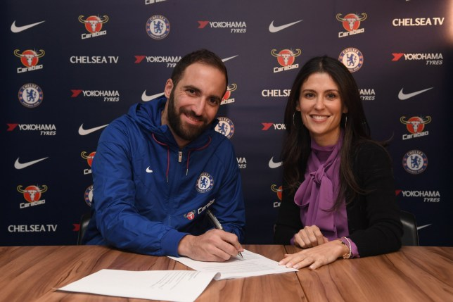 LONDON, ENGLAND - JANUARY 23: Gonzalo Higuain of Chelsea signs for Chelsea alongside Chelsea Director Marina Granovskaia at Stamford Bridge on January 23, 2019 in London, England. (Photo by Darren Walsh/Chelsea FC via Getty Images)