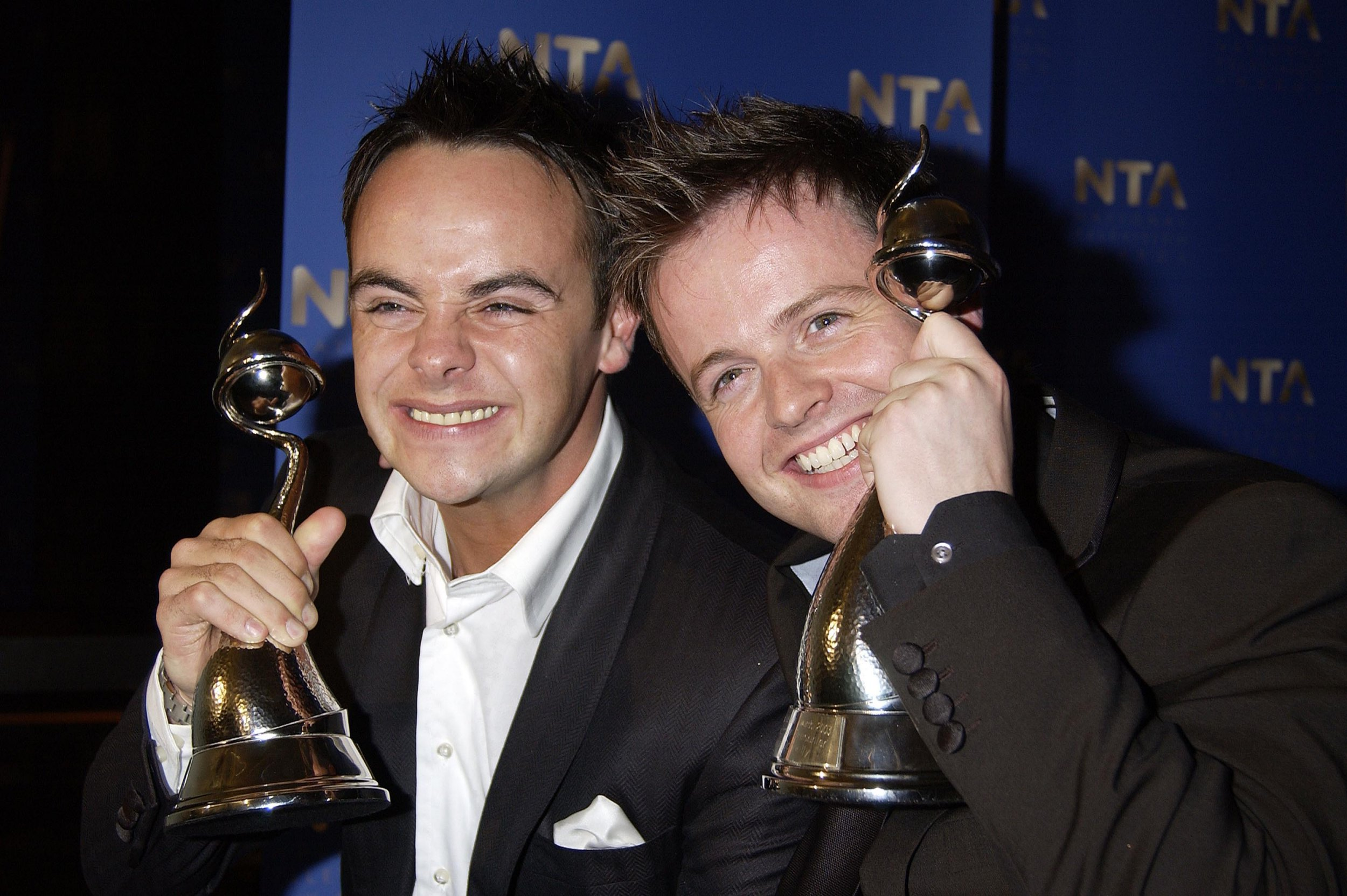 Mandatory Credit: Photo by Alan Davidson/REX/Shutterstock (7527083do) National Television Awards at the Royal Albert Hall Press Room - Anthony Mcpartlin and Declan Donnelly Collect the Award For Best Entertainment Programme 'Ant and Dec's Saturday Night Takeaway' 2003 Nta - 28 Oct 2003