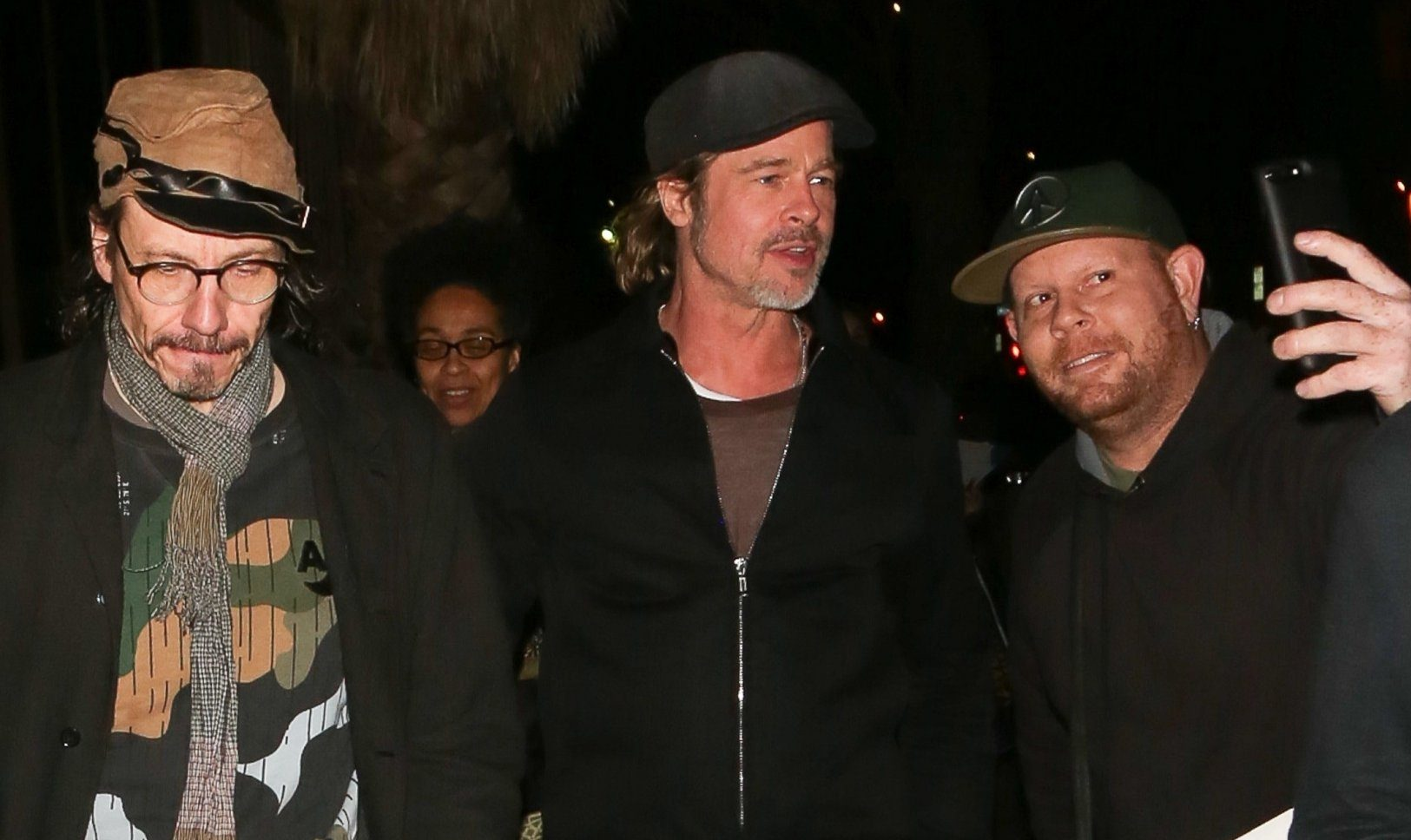 "Los Angeles, CA - *EXCLUSIVE* - Brad Pitt is pictured taking selfies with fans while enjoying a night out with friends. Brad who has been rumored to be seeing actress Charlize Theron looked like he was havign a great time as he went to go see Adam Sandler at Dynasty Typewriter. Sandler just filmed his second film, ""Murder Mystery'' with Brad's ex Jennifer Aniston. Pictured: Brad Pitt BACKGRID USA 24 JANUARY 2019 BYLINE MUST READ: BONI / BACKGRID USA: +1 310 798 9111 / usasales@backgrid.com UK: +44 208 344 2007 / uksales@backgrid.com *UK Clients - Pictures Containing Children Please Pixelate Face Prior To Publication*"