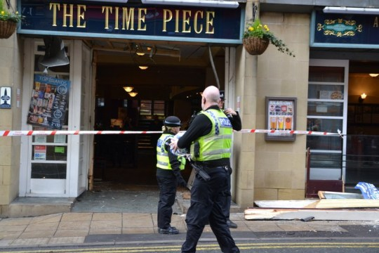 An elderly motorist ploughed through the entrance of a Wetherspoons boozer as early morning drinkers supped their pints. Firefighters were called to rescue a driver after he lost control of his car and crashed into The Time Piece pub in Dewsbury, West Yorkshire, at about 9.40am today [January 26]. Caption: The Time Piece pub in Dewsbury, West Yorkshire, which has been sealed off after a car crashed into the entrance on January 26, 2019