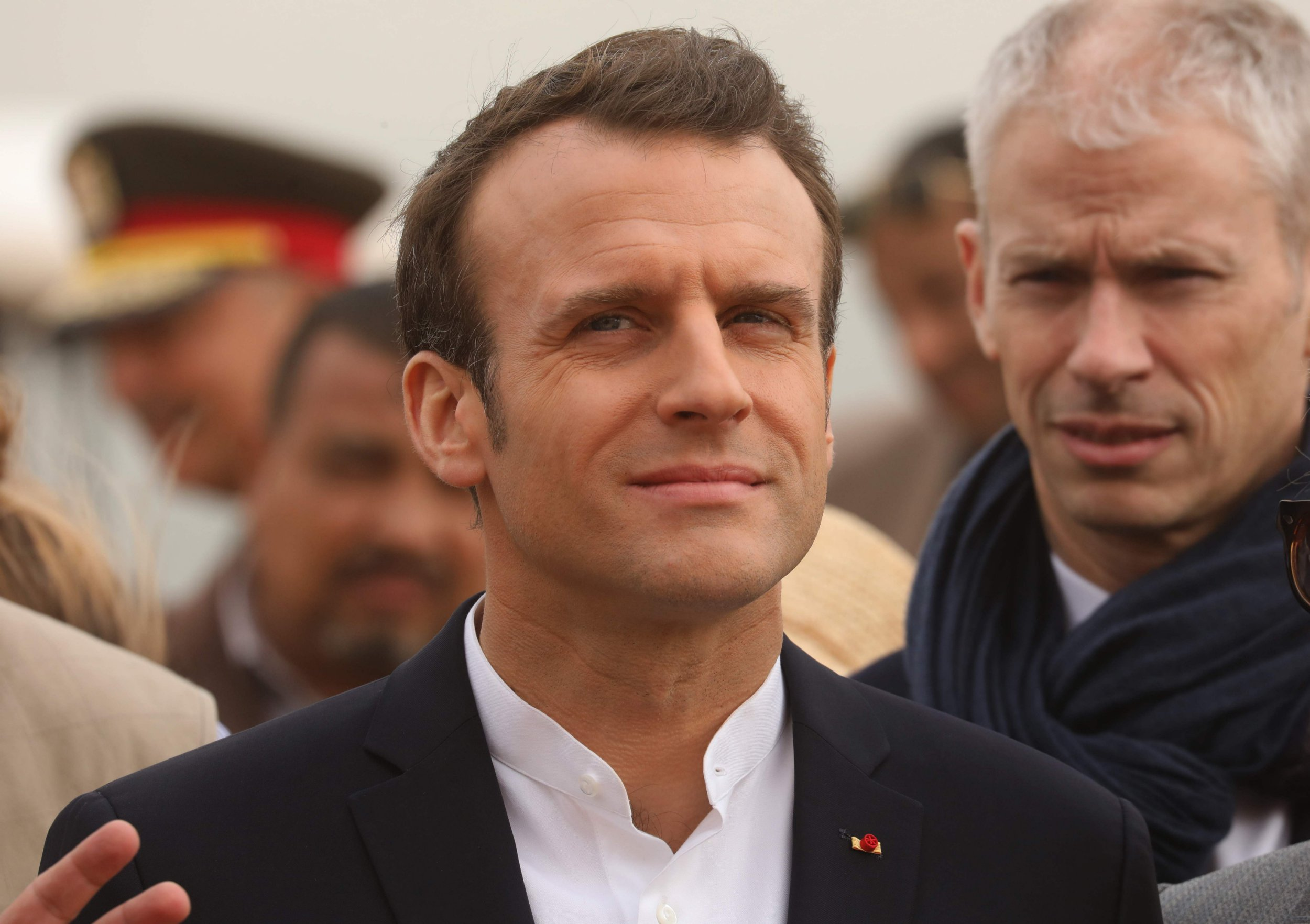 "French President Emmanuel Macron is pictured during his visit to the temple of Abu Simbel in southern Egypt on January 27, 2019. - Macron's three-day trip to Egypt comes as ""Yellow Vest"" protests against his policies continue to be held on the streets in France. (Photo by Ludovic MARIN / AFP)LUDOVIC MARIN/AFP/Getty Images"