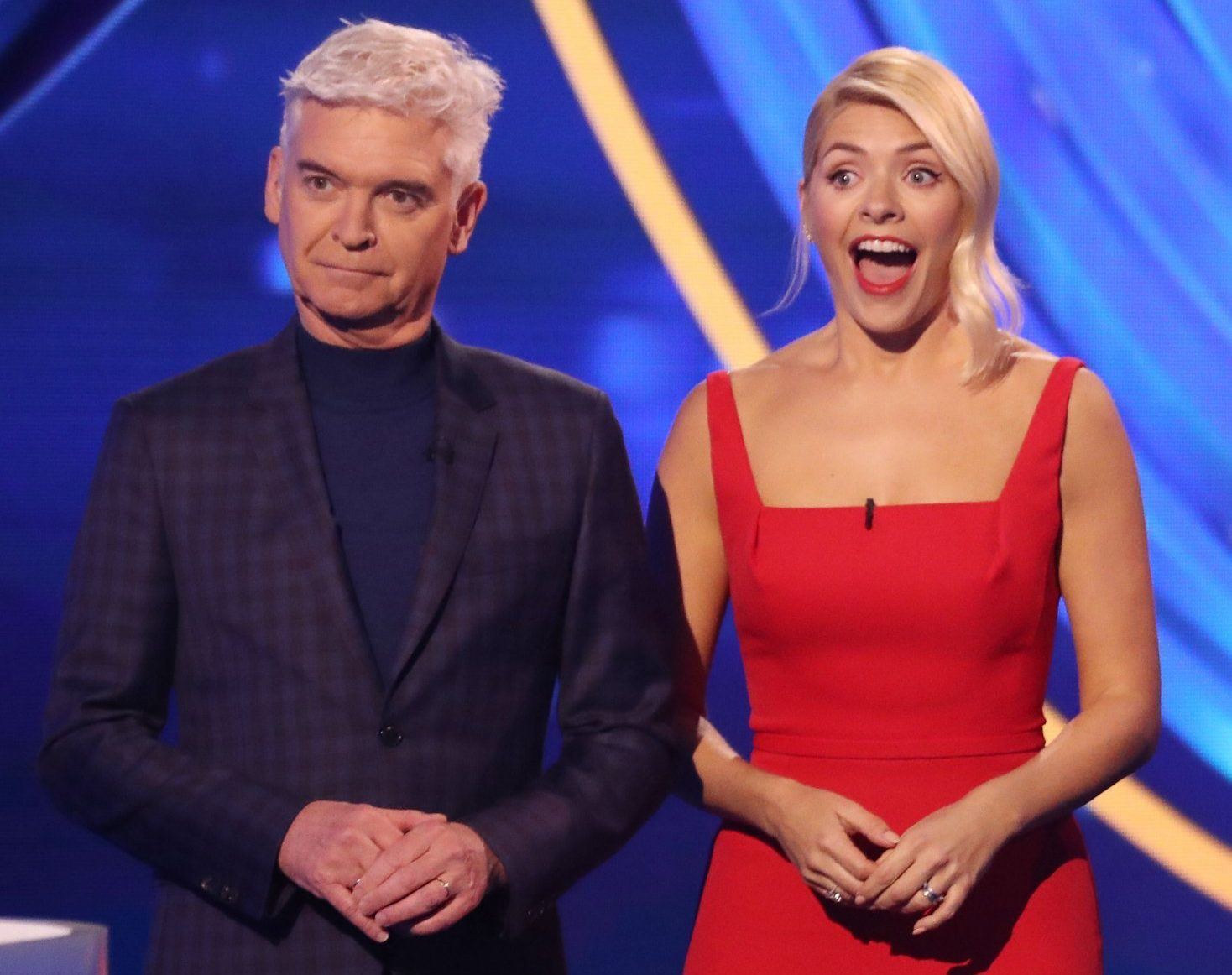Editorial use only Mandatory Credit: Photo by Matt Frost/ITV/REX (10073862fn) Phillip Schofield, Holly Willoughby, Saira Khan and Mark Hanretty 'Dancing on Ice' TV show, Series 11, Episode 4, Hertfordshire, UK - 27 Jan 2019