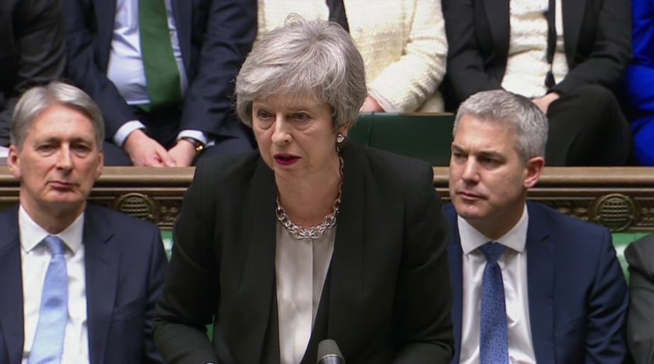 Prime Minister Theresa May addresses MPs following the results of voting on Amendments put forward by MPs over the Government's Brexit deal, in the House of Commons, London. PRESS ASSOCIATION Photo. Picture date: Tuesday January 29, 2019. See PA story POLITICS Brexit. Photo credit should read: PA Wire
