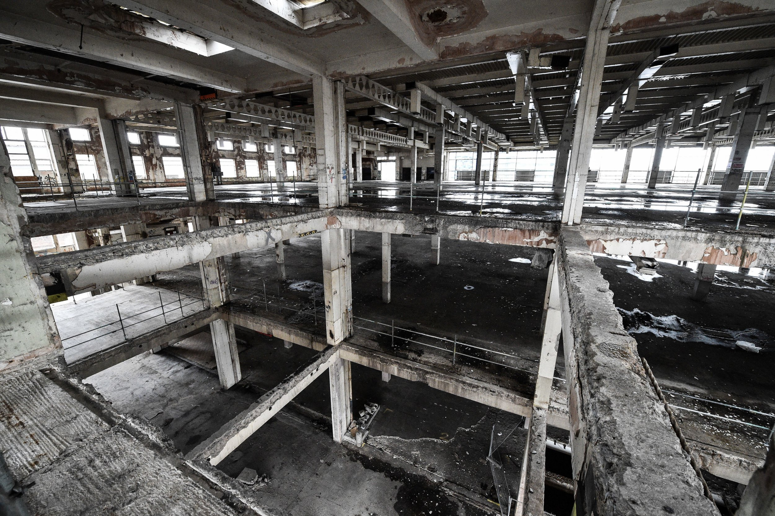 Missing floors are exposed inside the former Bristol Royal Mail sorting office, which is scheduled for demolition on 30th January 2019 after standing empty for 22 years, bringing an end to a building that became a playground for squatters, illegal ravers and fledgling graffiti artists. PRESS ASSOCIATION Photo. Picture date: Tuesday January 29, 2019. See PA story EDUCATION Demolition. Photo credit should read: Ben Birchall/PA Wire