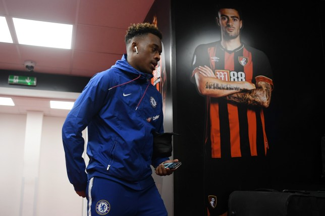BOURNEMOUTH, ENGLAND - JANUARY 30: Callum Hudson-Odoi of Chelsea arrives at the stadium ahead of the Premier League match between AFC Bournemouth and Chelsea FC at Vitality Stadium on January 29, 2019 in Bournemouth, United Kingdom. (Photo by Darren Walsh/Chelsea FC via Getty Images)