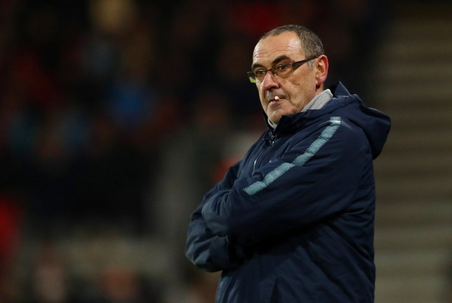 """Soccer Football - Premier League - AFC Bournemouth v Chelsea - Vitality Stadium, Bournemouth, Britain - January 30, 2019 Chelsea manager Maurizio Sarri looks dejected REUTERS/Hannah McKay EDITORIAL USE ONLY. No use with unauthorized audio, video, data, fixture lists, club/league logos or """"live"""" services. Online in-match use limited to 75 images, no video emulation. No use in betting, games or single club/league/player publications. Please contact your account representative for further details."""