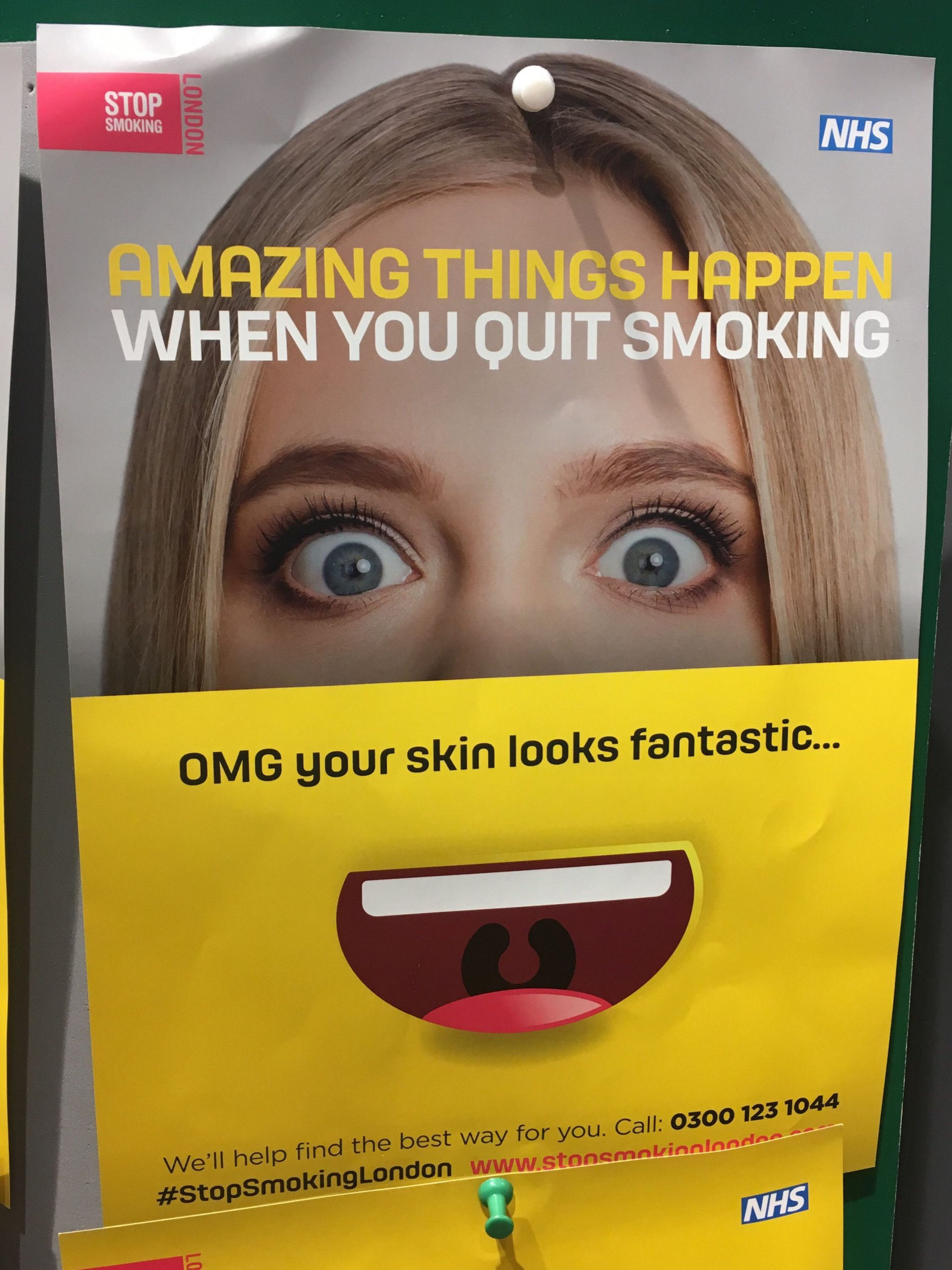PIC FROM Kennedy News and Media (PICTURED: A POSTER FEATURING A FEMALE MODEL WHICH TWO PARENTS HAVE BRANDED AS SEXIST AS PHOTOGRAPHED BY ALEX CHAMBERS) Parents have branded an NHS anti-smoking campaign 'sexist' as they claim it says quitting smoking will make women more attractive but men richer. The 'patronising' Stop Smoking London adverts that are plastered across the capital were spotted in a pharmacy in East Dulwich, London, by dad-of-two Alex Chambers, 37. But the teacher was disappointed when he noticed the adverts represented the benefits gained from quitting for male and females dramatically different. SEE KENNEDY NEWS COPY - 0161 697 4266