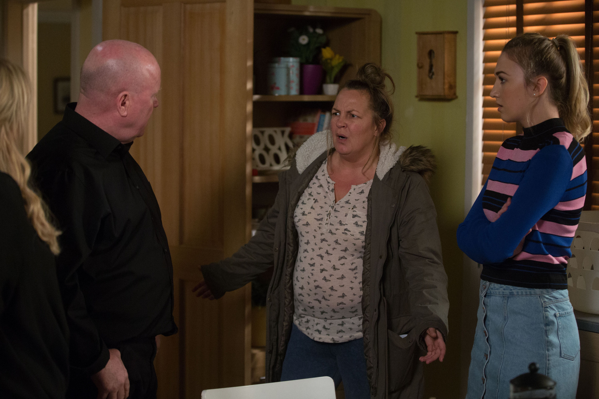 Louise Mitchell and Karen Taylor confront Phil and Sharon in EastEnders