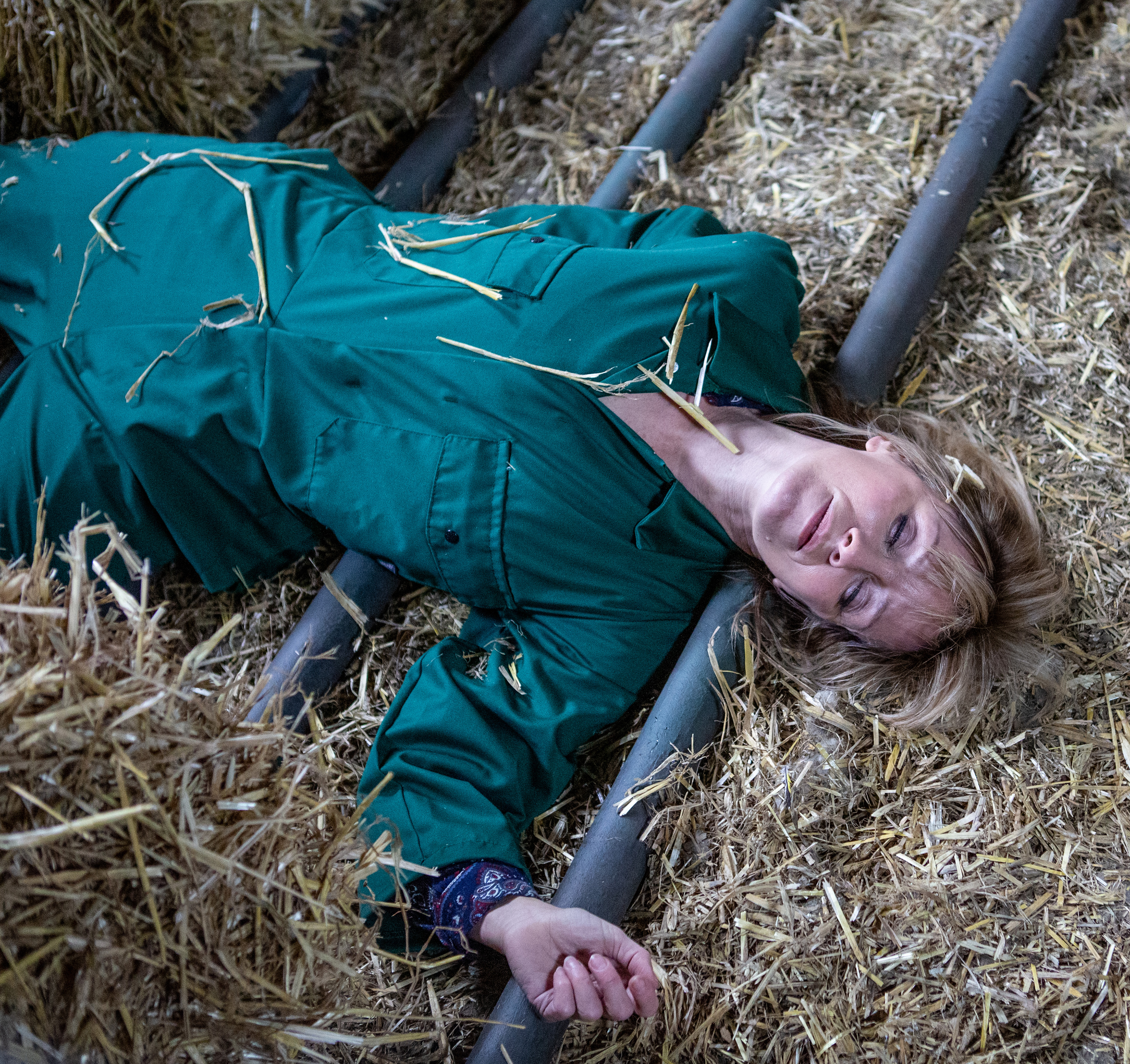 Rhona (played by zoe henry) after an accident at the farm on emmerdale