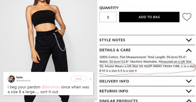 Boohoo slammed by shoppers for selling size 8 clothes labelled as ?Large?