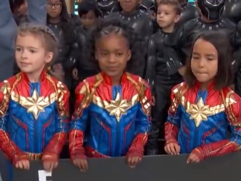 Mini Captain Marvels steal Oscars red carpet to donate $10k to the Captain Marvel challenge