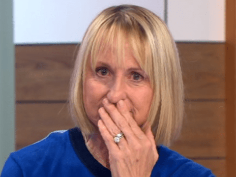 Fay Ripley comforts cancer survivor Carol McGiffin as she tears up over Cold Feet footage