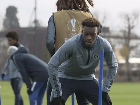 Ethan Ampadu mocks Callum Hudson-Odoi after winning agility test in Chelsea training