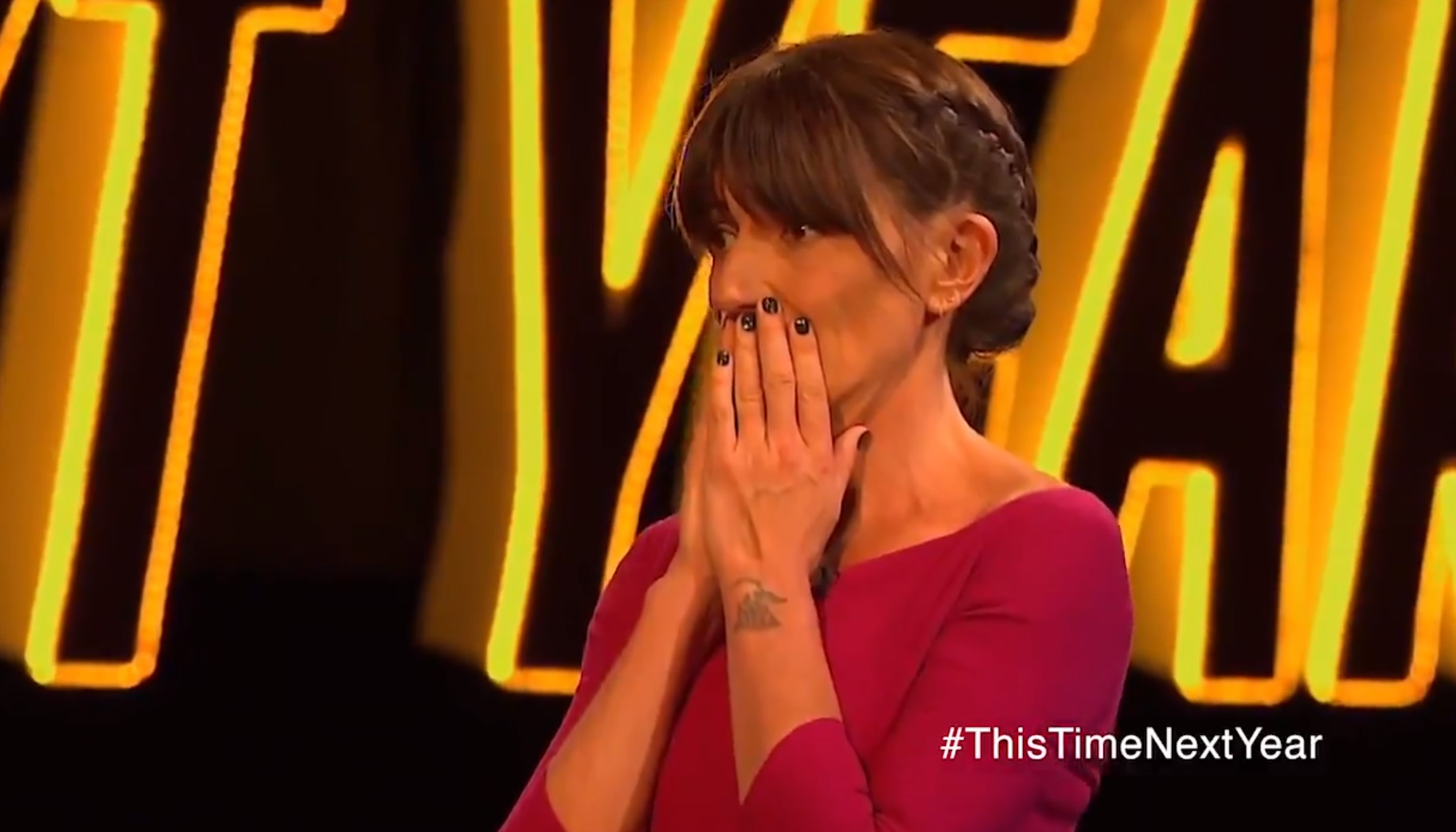 Davina McCall was emotional over the baby news (Picture: ITV)
