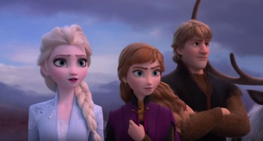 Elsa, Anna and Kristoff in the Frozen 2 trailer