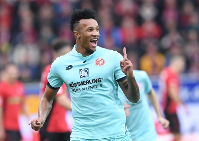 Jean-Philippe Gbamin wearing Mainz away kit