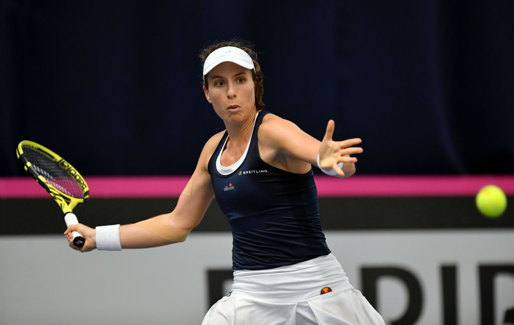 Johanna Konta survives scare to fire Great Britain into Fed Cup promotional play-off