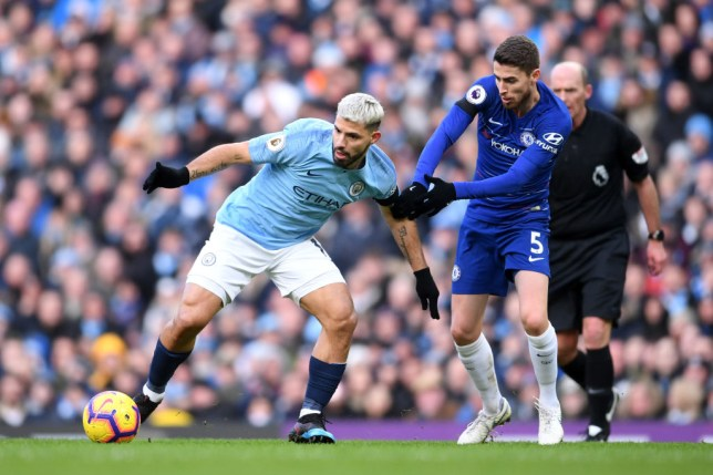 Sergio Aguero moving the ball past Jorginho during Manchester City vs Chelsea in the Premier League